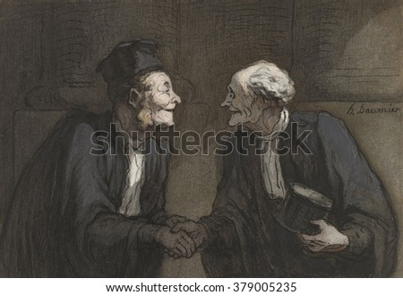 Two Lawyers Shake Hands, by Honore Daumier, c. 1840-60, French drawing with watercolor paint.