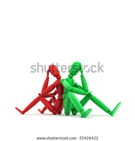 two lay figures in red and green sitting on a white ground thinking - stock photo