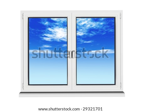 two layers and two frame closed plastic window with blue sky