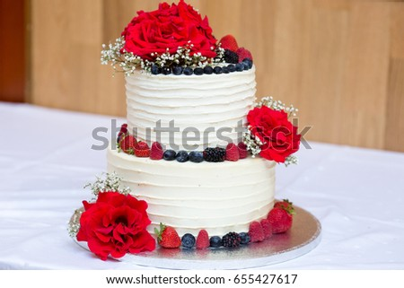 Two Layers Birthday Cream Berries Cake Stock Photo Royalty Free