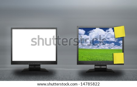two lcd screens against abstract background, photo inside LCD is my property - stock photo
