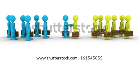 Two leaders of different business teams shake hands - stock photo