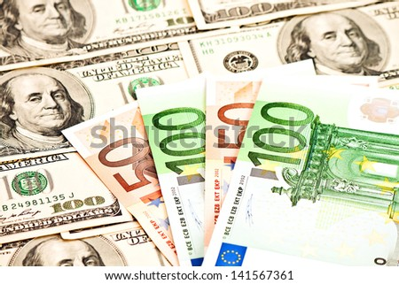 Two leading hard currencies - US Dollar and Euro  - stock photo