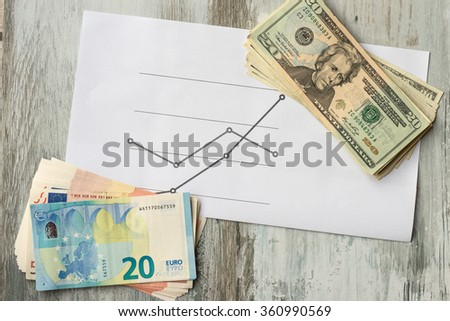 Two leading hard currencies - US Dollar versus Euro. - stock photo