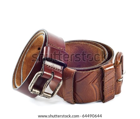 Two leather belts on white background