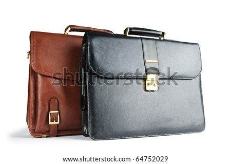 Two leather briefcases isolated on the white - stock photo