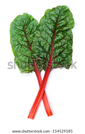 Two leaves of Mangold or Swiss chard  isolated on white