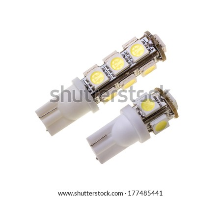 Two led lamp for auto with 5 and 13 SMD LEDs isolated on the white background - stock photo