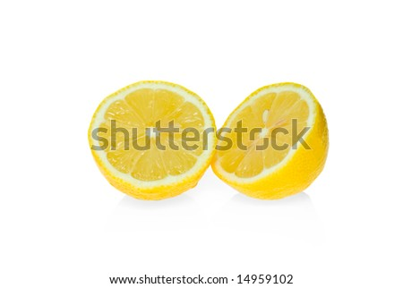 Two lemon halves isolated on the white background