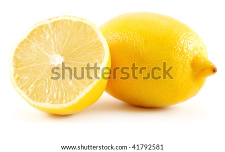 two lemons isolated on white - stock photo