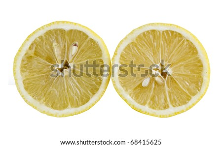 two lemons isolated on white