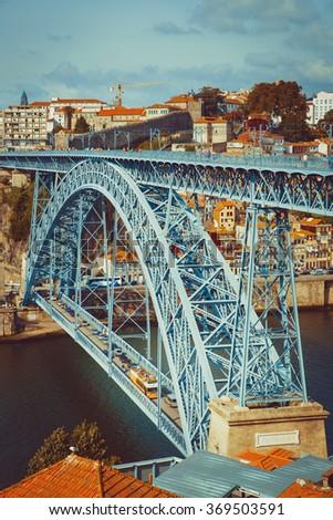 Two level metallic bridge in Porto. - stock photo