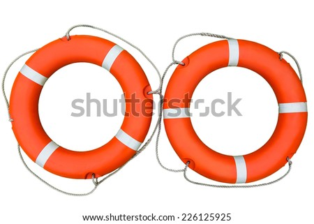 Two life buoys on a white isolated background - stock photo.