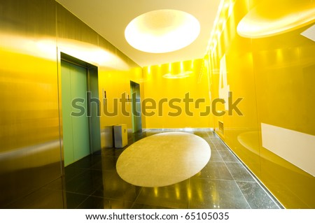 Two lifts in a modern business building. - stock photo