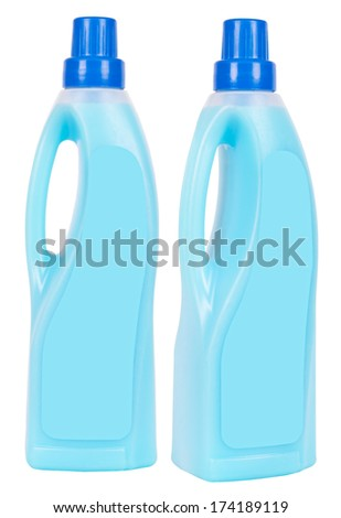 Two light blue conditioner plastic bottles with blue caps isolated on white
