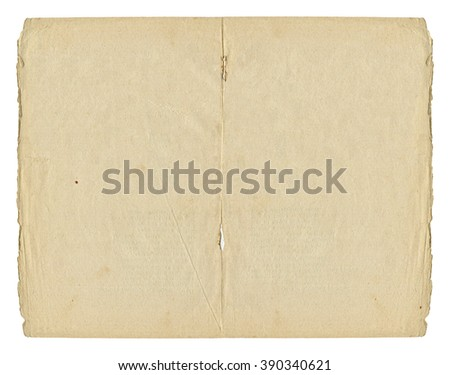 Two light open paper blank pages with old spots and torn edges isolated on white background. Vintage book texture.  - stock photo