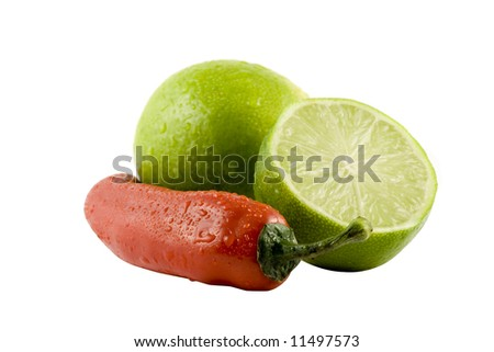 Two lime and a red chili isolitad on white background - stock photo
