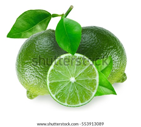 Two limes fruits with leaves and a slice isolated on white background
