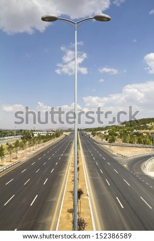 Two line, wide road, highway - stock photo