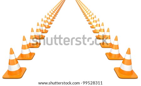 Two lines of traffic cones, isolated on white background - stock photo