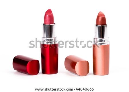 two lipsticks isolated on white background