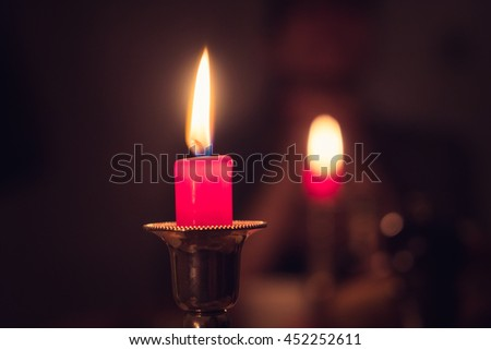 Two lit candles background
