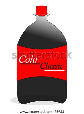two liter cola bottle  red illustration - stock photo