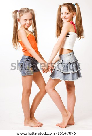 Two little blond Girls - stock photo