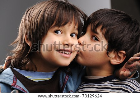 Two little boy - stock photo