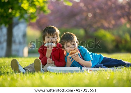 Two little boys having dinner with pizza on sunset, picnic on the grass springtime in blooming garden