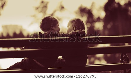 two little boys in a park - stock photo