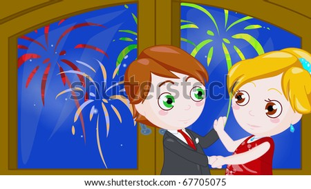 two little characters dance together to celebrate new year - stock photo