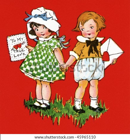 Two little Children giving each other a Valentine greeting - a circa 1915 vintage Valentine greeting card illustration - stock photo