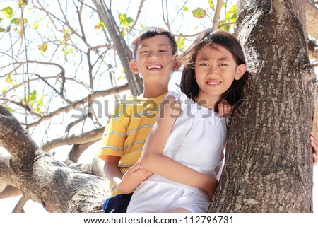 Two little children sitting on the tree