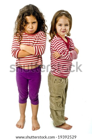 two little girls back to back in quarrel isolated on white