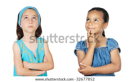 Two little girls thinking on a over white background - stock photo