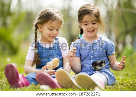 Two little girls with chickens - stock photo