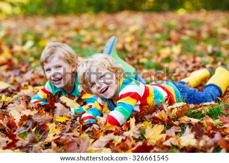 Two little kid boys lying in autumn leaves in colorful clothing. Happy siblings having fun in autumn park on warm day. Selective focus on one child. - stock photo