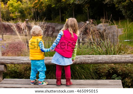 Two little kids, boy and girl, watch giraffe in the zoo on a cold autumn day. Children watching animals in safari park.