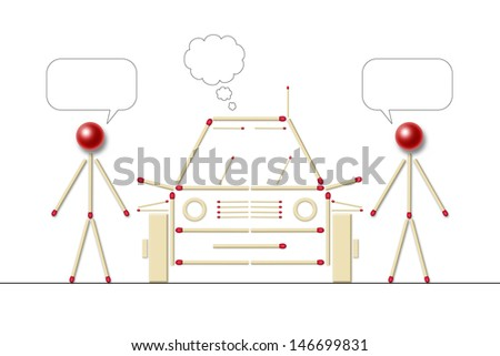 two little men made of matches speaking about a car, scene with vacant bubbles for text - stock photo