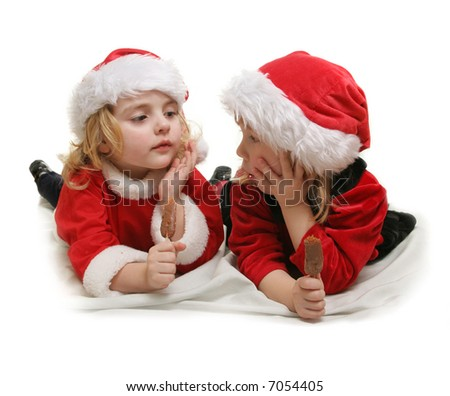 two little santa helpers - over white