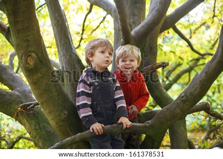 Two little sibling boys having fun on big tree in autumn forest. - stock photo