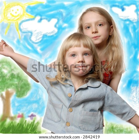 two little sister in dream meadow
