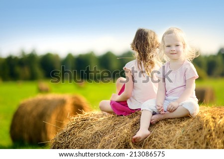 Two little sisters sitting on a haystack in wheat field on warm and sunny summer day - stock photo