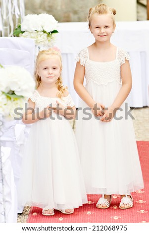 Two Littles Bridesmaids - stock photo