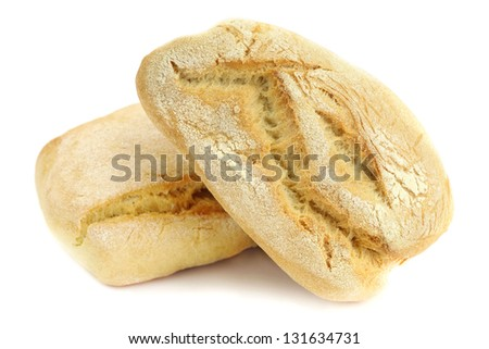 Two loaves of fresh Italian durum wheat bread on white background - stock photo