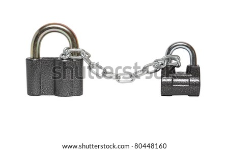 Two locked padlocks and metal chain on white background. Isolated with clipping path
