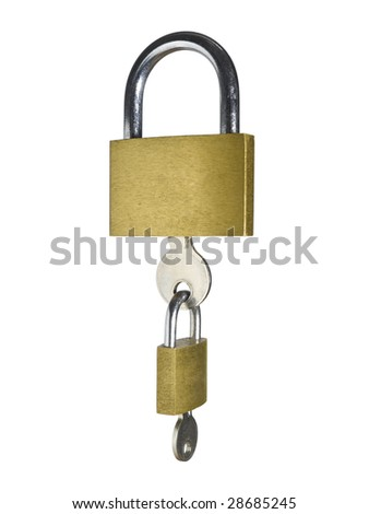 Two locks with their keys as a chain. Isolated on white background.