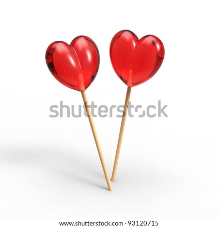 two lollipop in heart shape - stock photo
