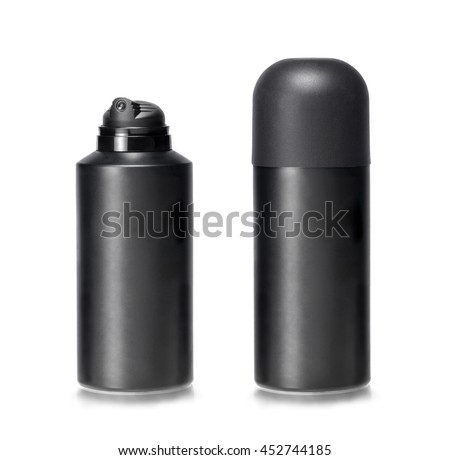 Two lotion dispensers one capped and other uncapped against white background. Clipping path